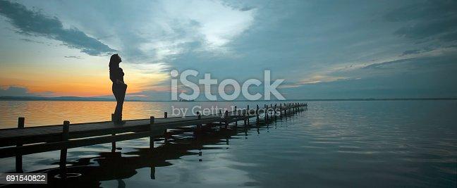 istock Silhouette of woman standing on jetty at lake watching idyllic scenics at dusk 691540822