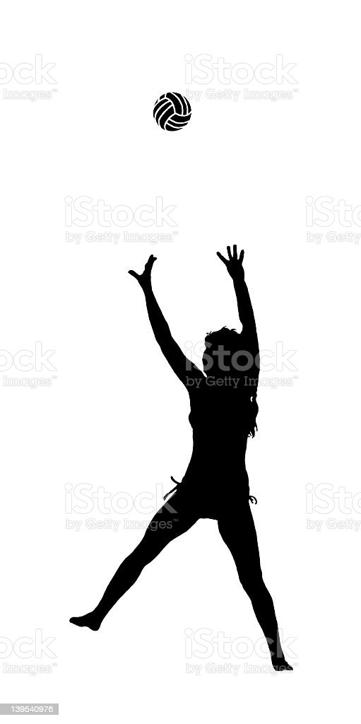 Silhouette of woman with volleyball royalty-free stock photo