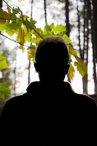Silhouette of Young Man in Autumn - Silueta  en otoño