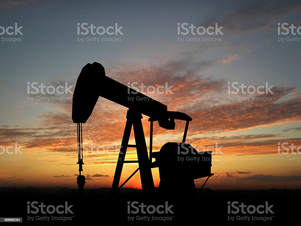 Silhouette oil pump royalty-free stock photo