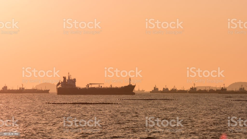 Silhouette Oil tanker stock photo