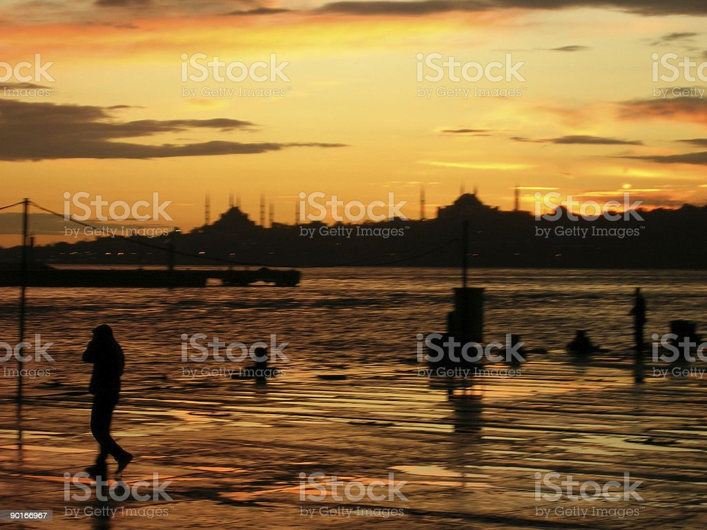 Silhouette on Jetty royalty-free stock photo