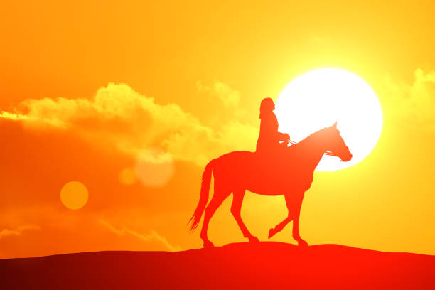 Cowgirl Horse Wild West Sunset Stock Photos, Pictures