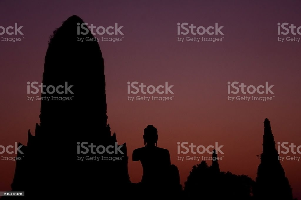 silhouette pagoda and buddha in historical world heritage park stock photo