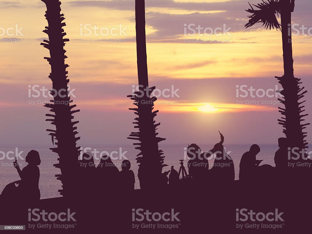Silhouette people watching sunset royalty-free stock photo