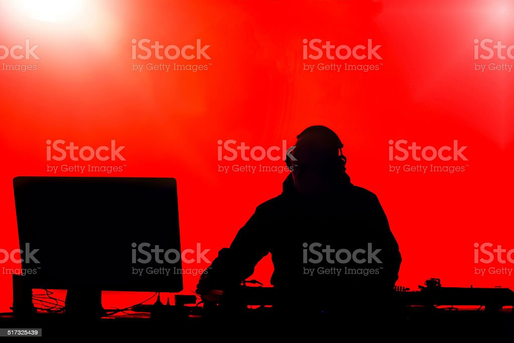 DJ silhouette stock photo