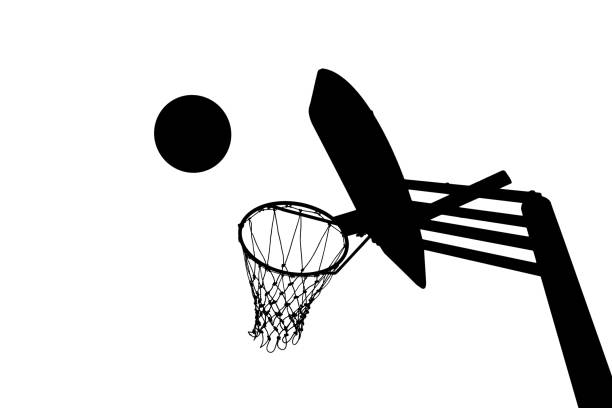 Silhouette picture of basketball goal stock photo