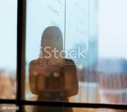 1068588904 istock photo Silhouette shadow of woman looking at city from office 637920742