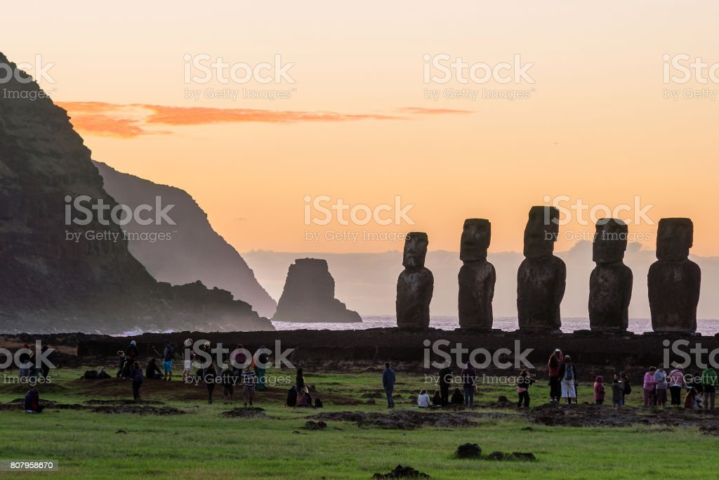 Silhouette shot of Moai statues in Easter Island stock photo