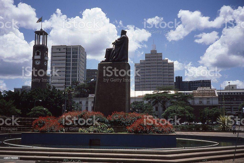 Silhouette skyline Nairobi Kenya with statue President Kenyatta stock photo