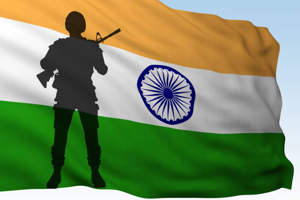 silhouette soldier against flag of India stock photo