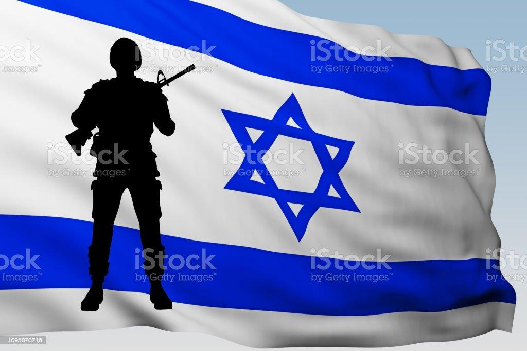Soldado De La Silueta Contra La Bandera De Israel Foto de stock y más banco  de imágenes de Adulto - iStock
