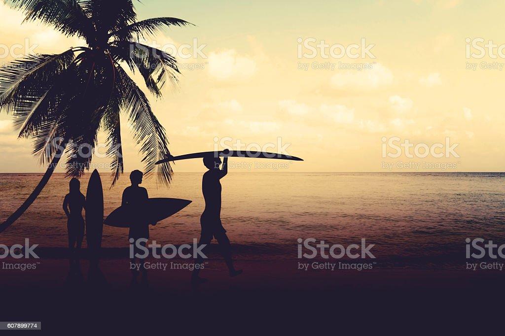 silhouette surfing on beach ストックフォト