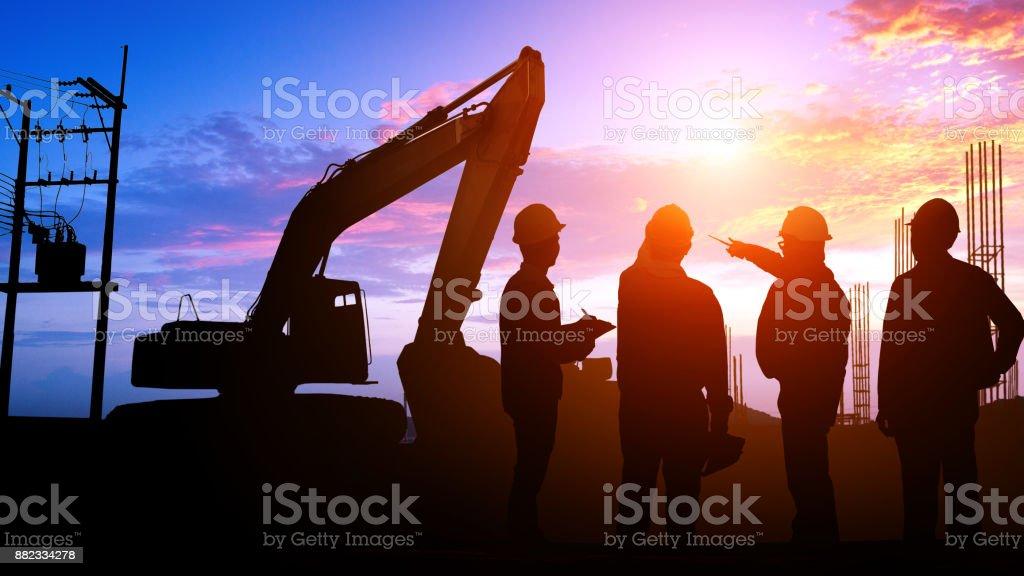 Silhouette Teams engineer stock photo
