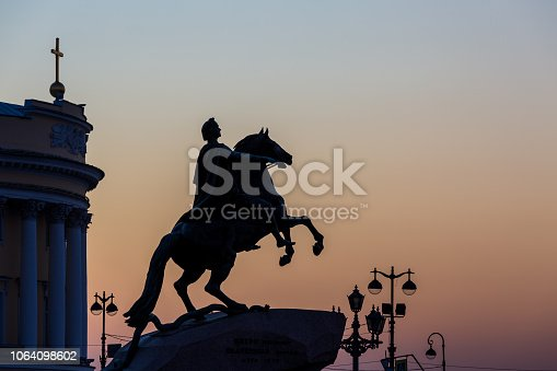 Silhouette The Bronze Horseman, statue of Peter the Great in Saint Petersburg, Russia, Constitutional Court in the evening, St. Petersburg, Russia.