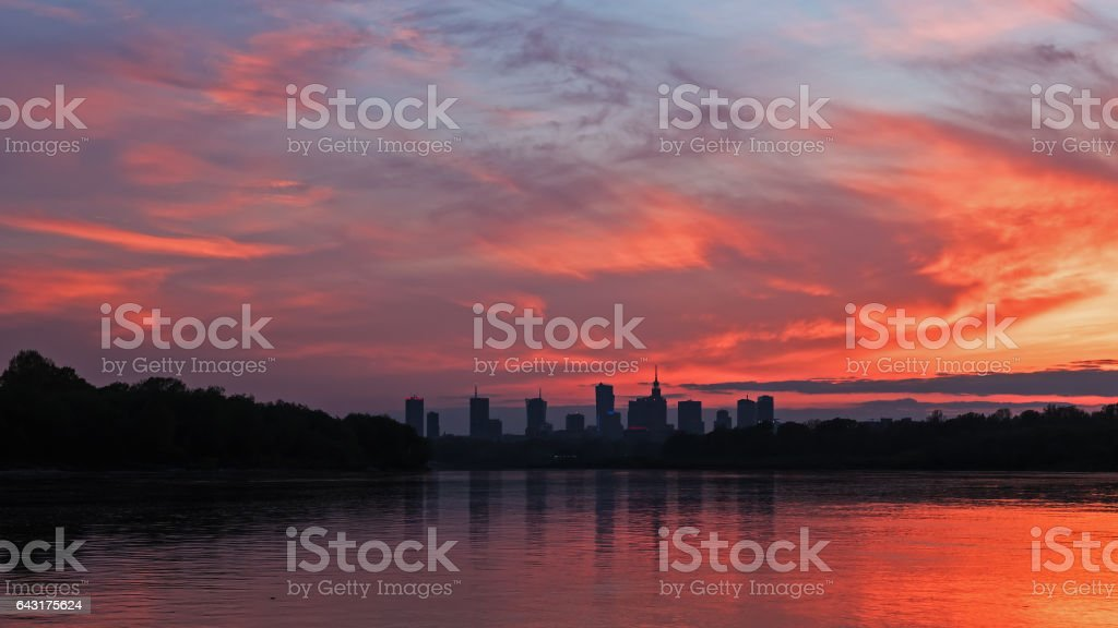 Silhouette  the city of Warsaw stock photo
