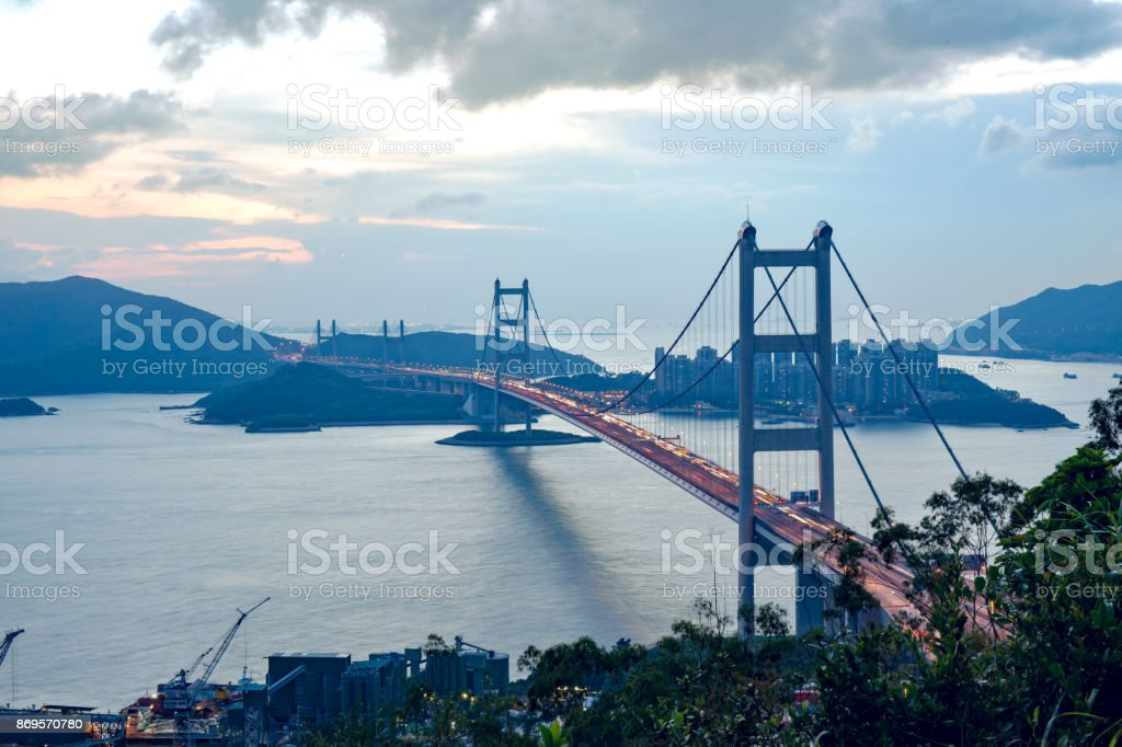silhouette Tsing Ma Bridge at Hong Kong stock photo