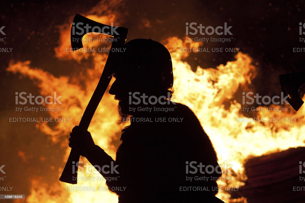 Silhouette Up Helly Aa Viking stock photo