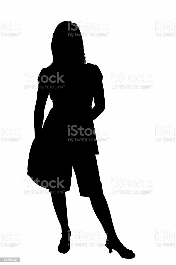Silhouette With Clipping Path  of female holding Shoulder Bag royalty-free stock photo