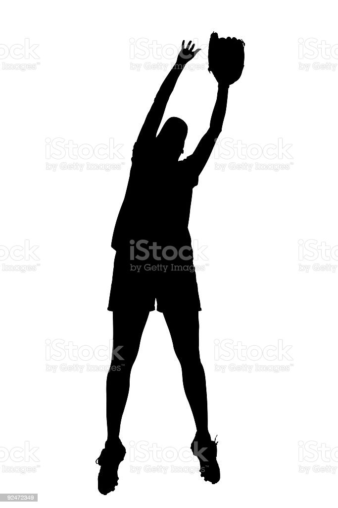 Silhouette With Clipping Path of Female Softball Player stock photo