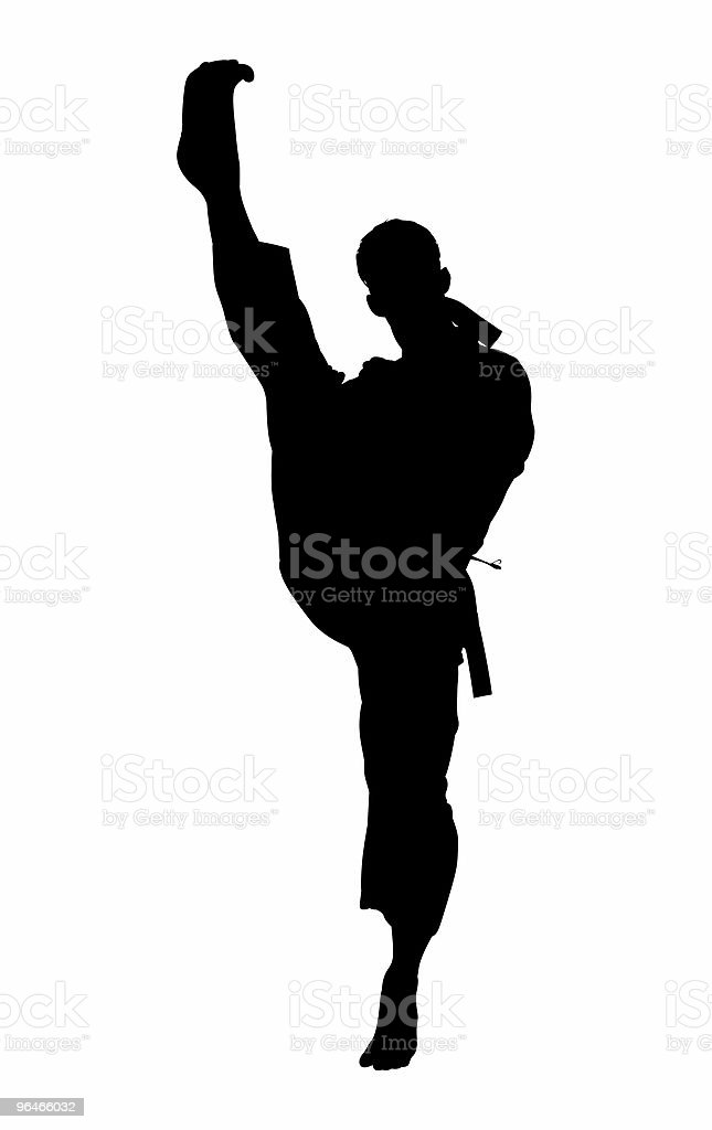 Silhouette With Clipping Path of Karate Kick royalty-free stock photo