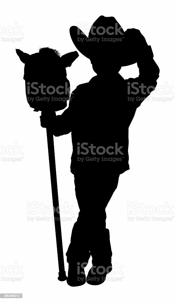 Silhouette With Clipping Path of Little Cowboy royalty-free stock photo