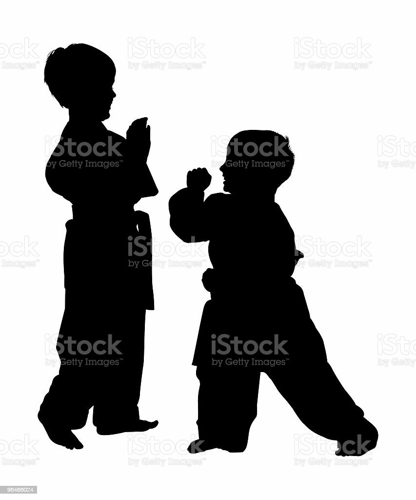 Silhouette With Clipping Path of Martial Arts Boys royalty-free stock photo