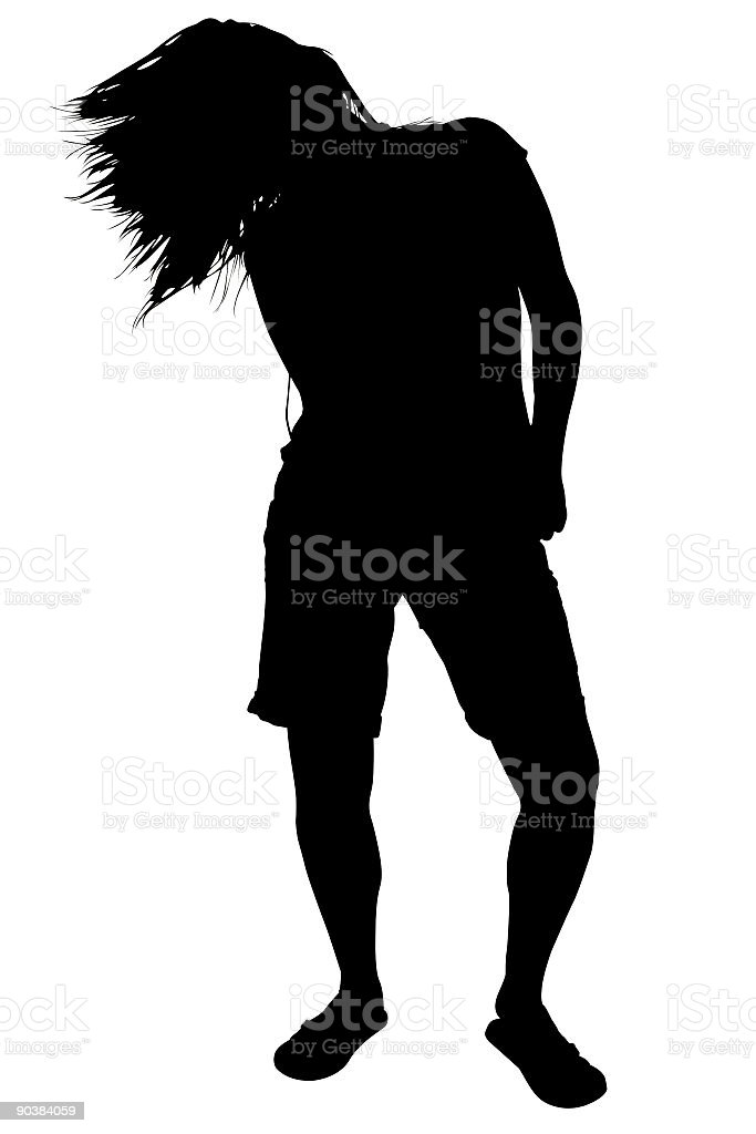 Silhouette With Clipping Path of Woman Dancing royalty-free stock photo