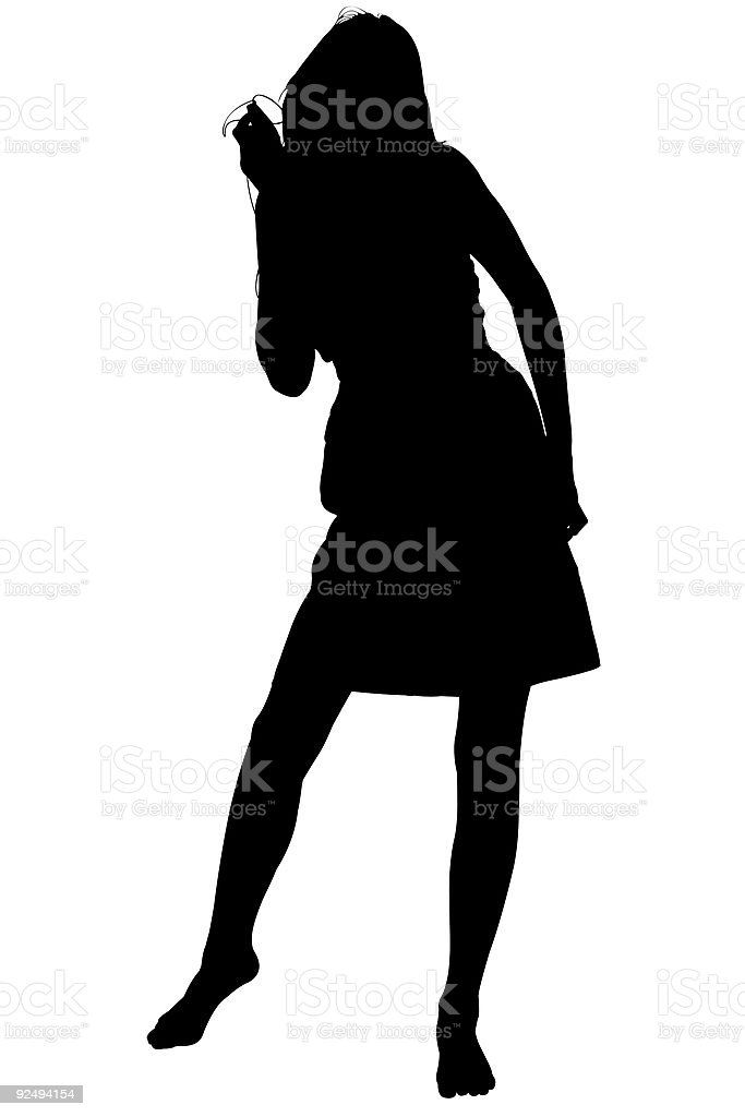 Silhouette With Clipping Path Teen Dancing To Music royalty-free stock photo