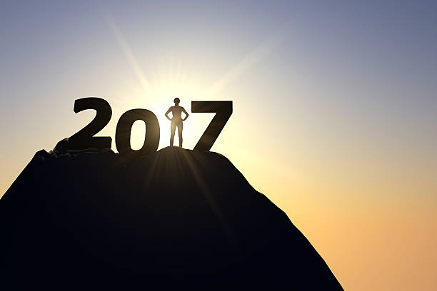 2017 silhouette with female figure 3D render of a silhouette 2017 message. A female figure is standing in the number one position. new year opportunity concept 2017 stock pictures, royalty-free photos & images
