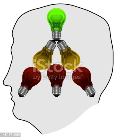 637573406istockphoto Silhouette with red, yellow and green light bulbs in mind 462171295