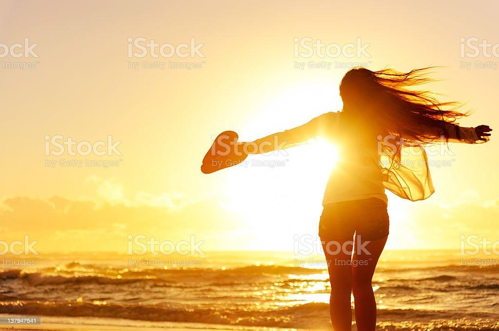 silhouette woman beach royalty-free stock photo