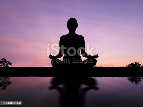 Silhouette asian woman meditate or practice yoga outdoor