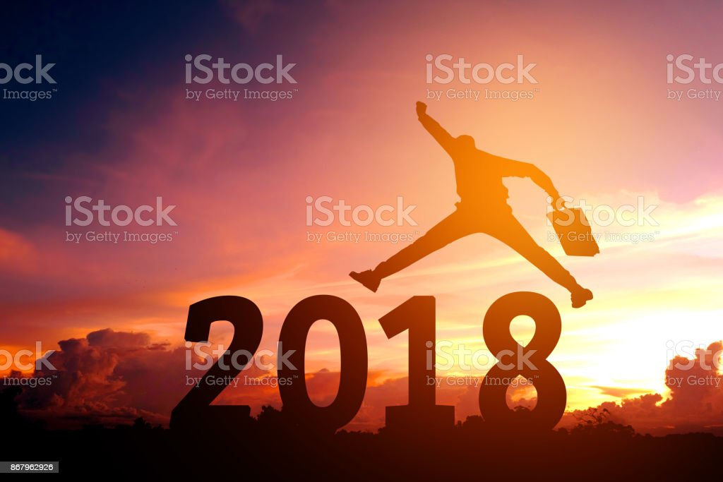Silhouette young business man Happy for 2018 new year stock photo