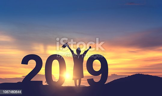 Silhouette Young woman Graduation in 2019 years, Concept education congratulation, copy space.