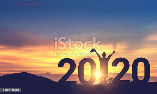 Silhouette Young woman Graduation in 2020 years, Concept education congratulation, copy space.