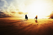 Two women, riding horses on a  beach on a windy winter's afternoon, are almost silhouetted against the choppy sea and cloudy, gold-tinged sky as the sun begins to set.