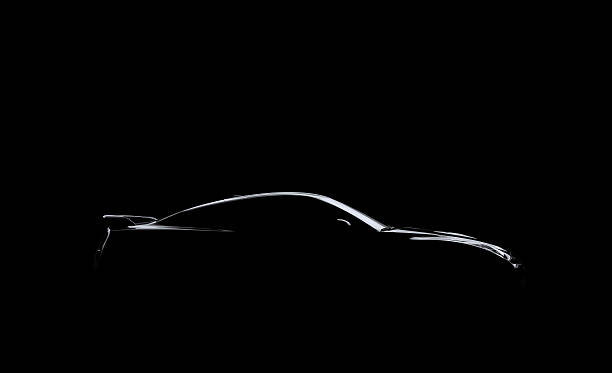 Silhouetted Car on Black A silhouetted exotic car on a black background. exoticism stock pictures, royalty-free photos & images