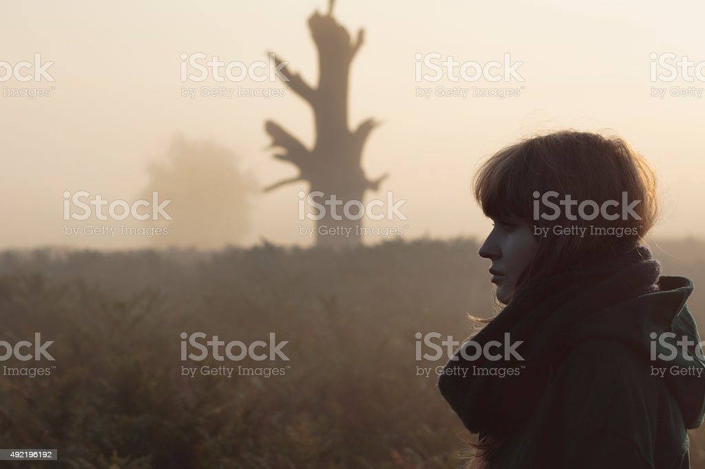 Sunrise head and shoulders of Latvian outdoor girl stock photo