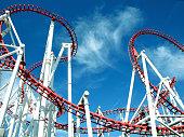 Ingoldmells, Lincolnshire, UK. July 17,2014.  Roller coaster loops against a Summer sky at Fantasy Island in Ingoldmells near Skegness in Lincolnshire, UK.