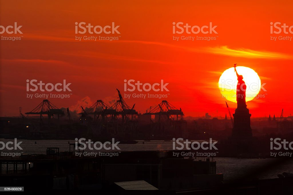Silhouetted Statue of Liberty stock photo