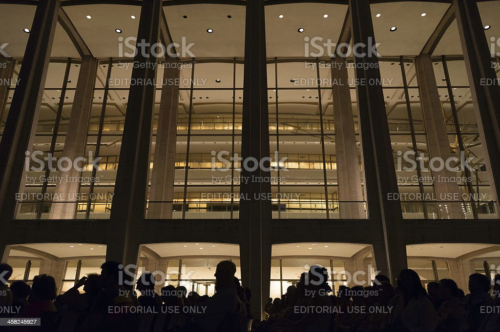 Silhouettes at an open air opera at the Lincoln Center stock photo