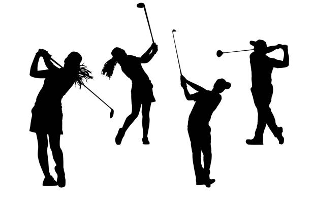 silhouettes golfers collection stock photo