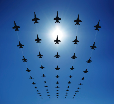 F18 Silhouettes In The Sky Stock Photo - Download Image Now