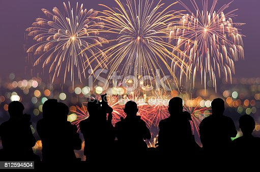 istock Silhouettes Observing Fireworks 812594504