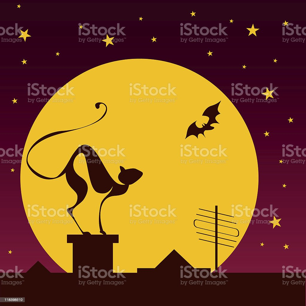 silhouettes of black cat and bat royalty-free stock photo