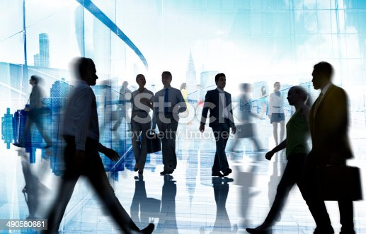 istock Silhouettes of Business and Casual People Walking 490580661