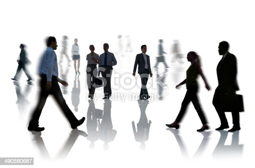 istock Silhouettes of Business People Rush Hour 490580687