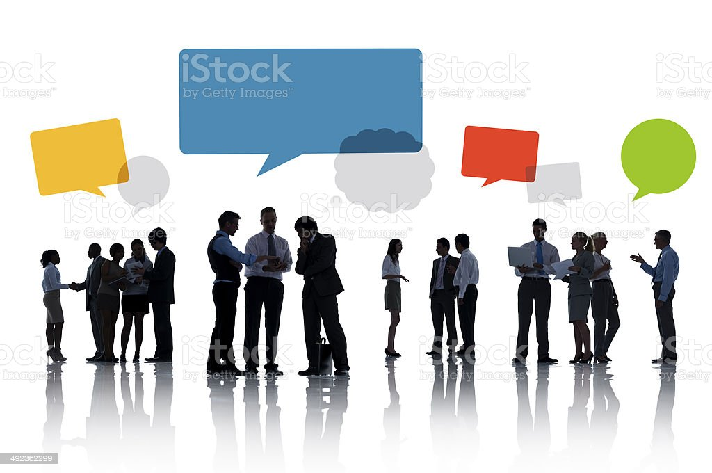 Silhouettes of Business People Working Isolated on White stock photo