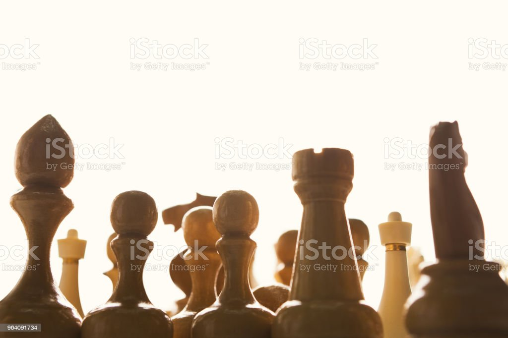 Silhouettes of chess figures on white background - Royalty-free Agricultural Field Stock Photo